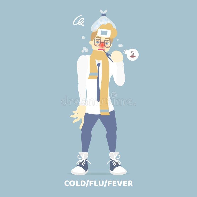 Homem no lenço amarelo com o termômetro em sua boca, tendo um nariz frio e ralo, gripe da gripe da febre, inverno, estação das ch ilustração do vetor