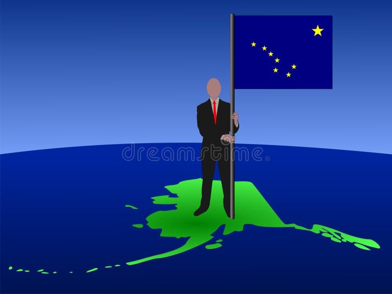 Homem no mapa de Alaska com bandeira ilustração do vetor