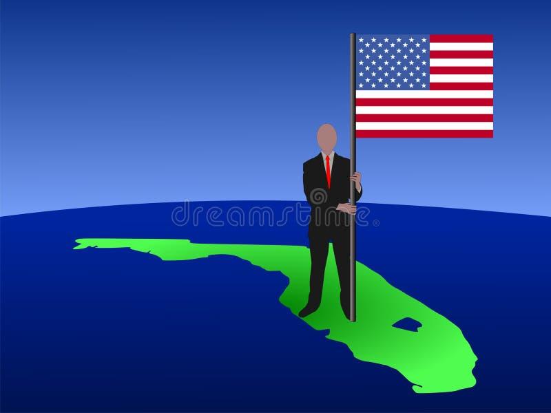 Homem no mapa de Florida com bandeira ilustração stock