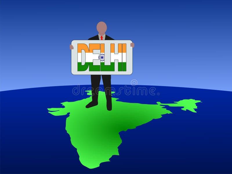 Homem no mapa de India ilustração do vetor