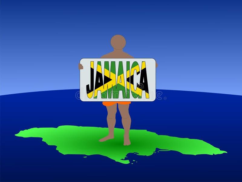 Homem no mapa de Jamaica ilustração do vetor