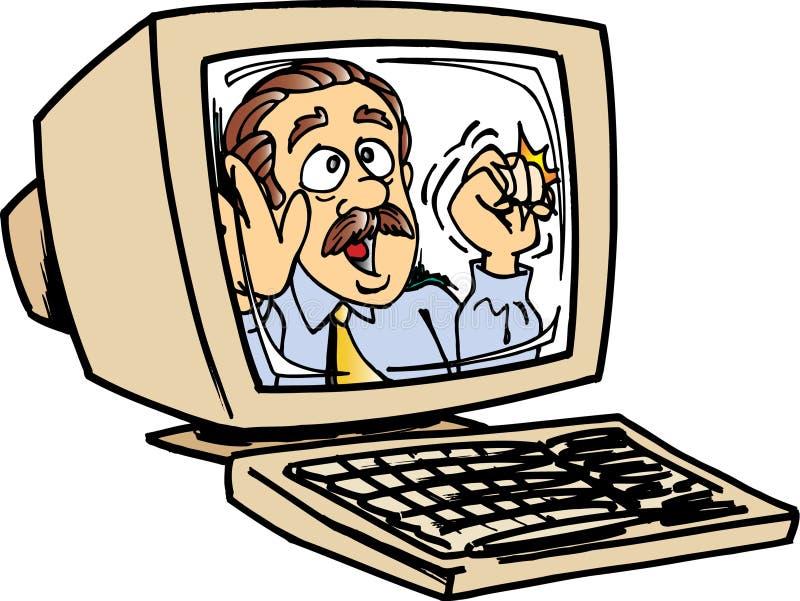 Homem no monitor do computador ilustração do vetor