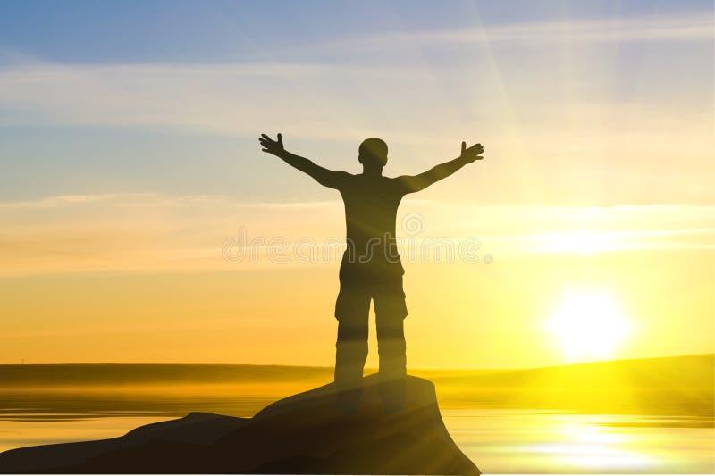 Homem no nascer do sol foto de stock royalty free