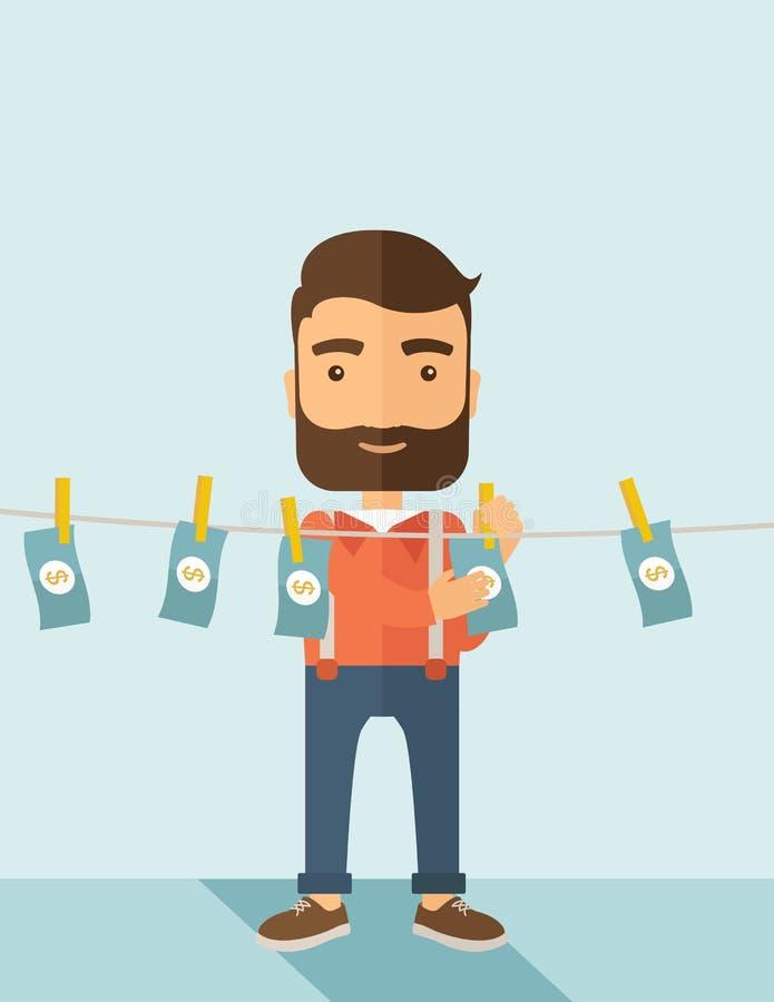 Homem no negócio da lavagem de dinheiro ilustração do vetor