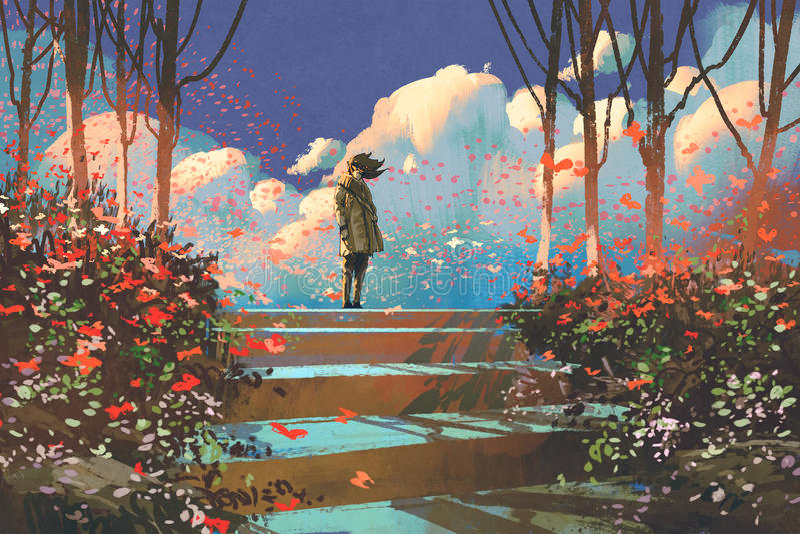 Homem no parque com a multidão de borboletas ilustração royalty free