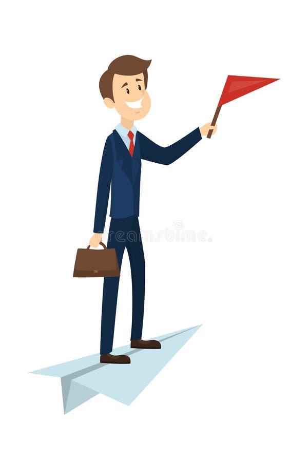 Homem no plano de papel ilustração do vetor