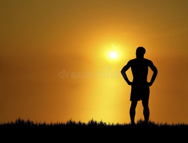 Homem no por do sol fotografia de stock royalty free