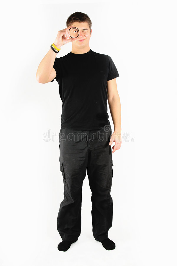 Homem no preto fotografia de stock