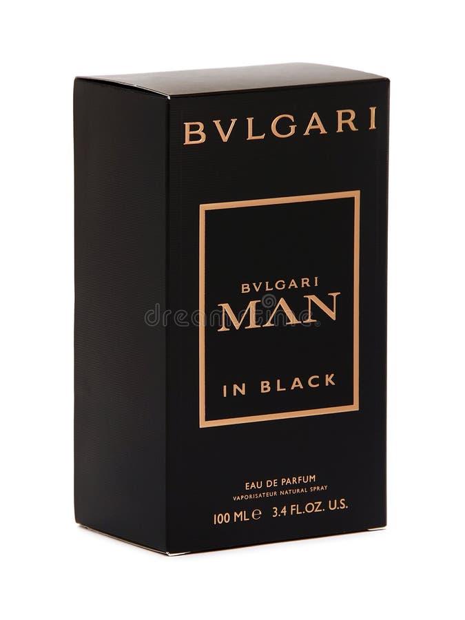 Homem no preto, eau de parfum de Bulgari, caixa negra foto de stock royalty free