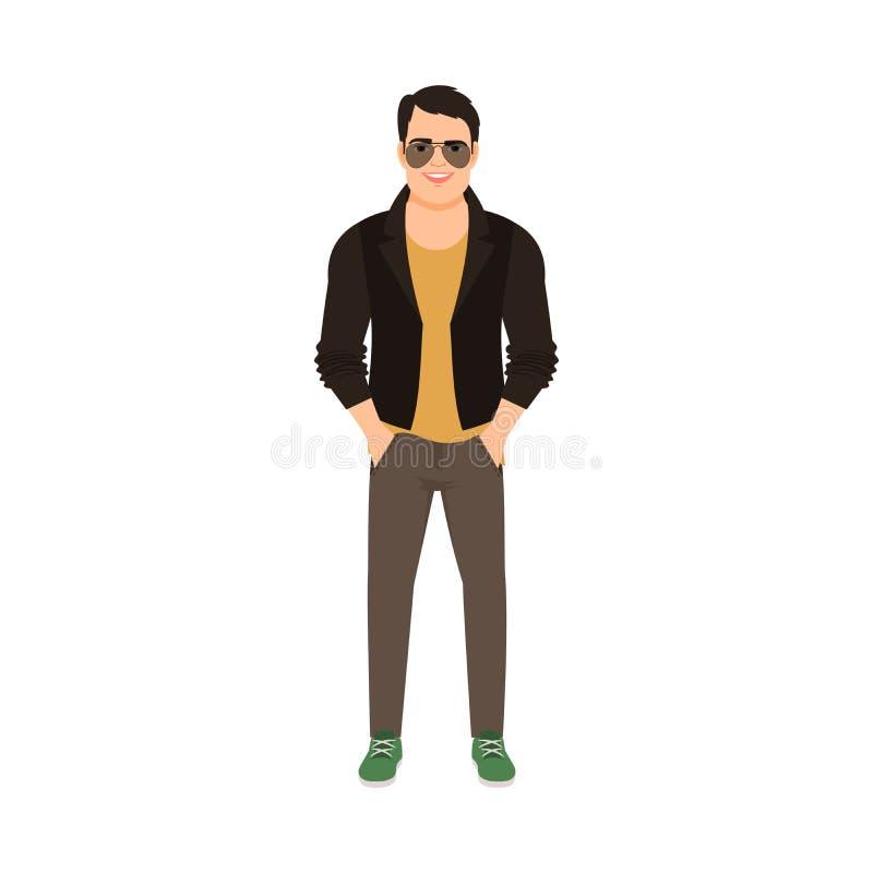Homem no revestimento de couro ilustração stock