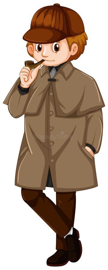 Homem no revestimento marrom com tubulação de fumo ilustração stock