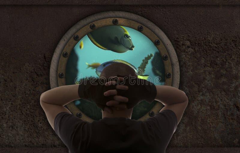 Homem no submarino foto de stock royalty free