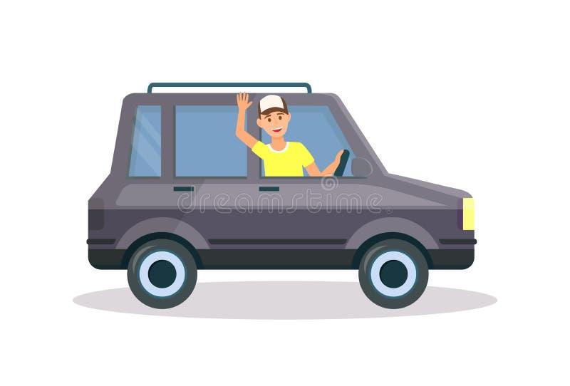 Homem no t-shirt amarelo e no tampão que conduzem o carro preto ilustração royalty free