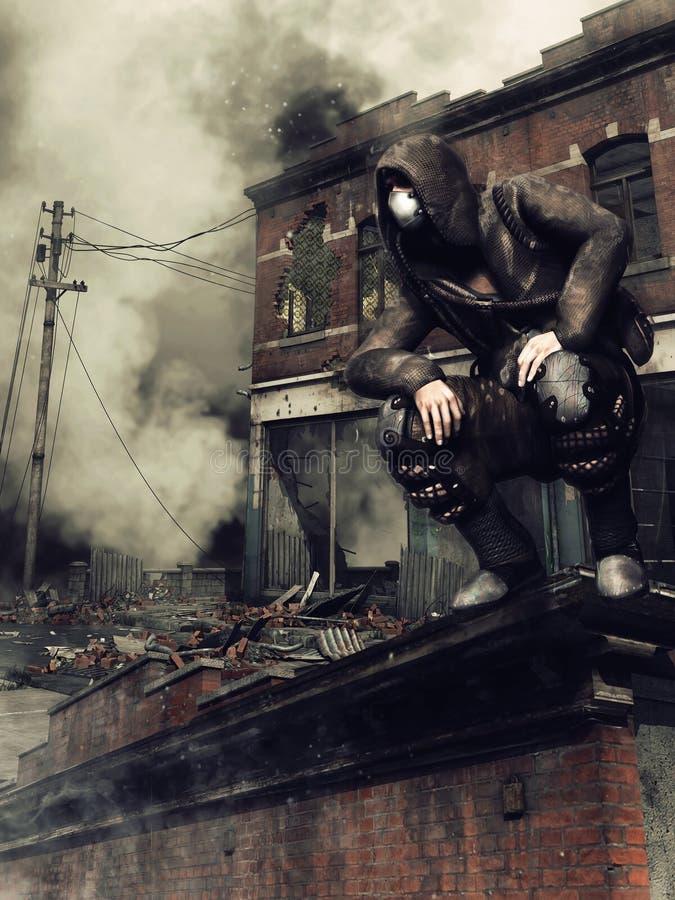 Homem no telhado de uma construção ilustração stock