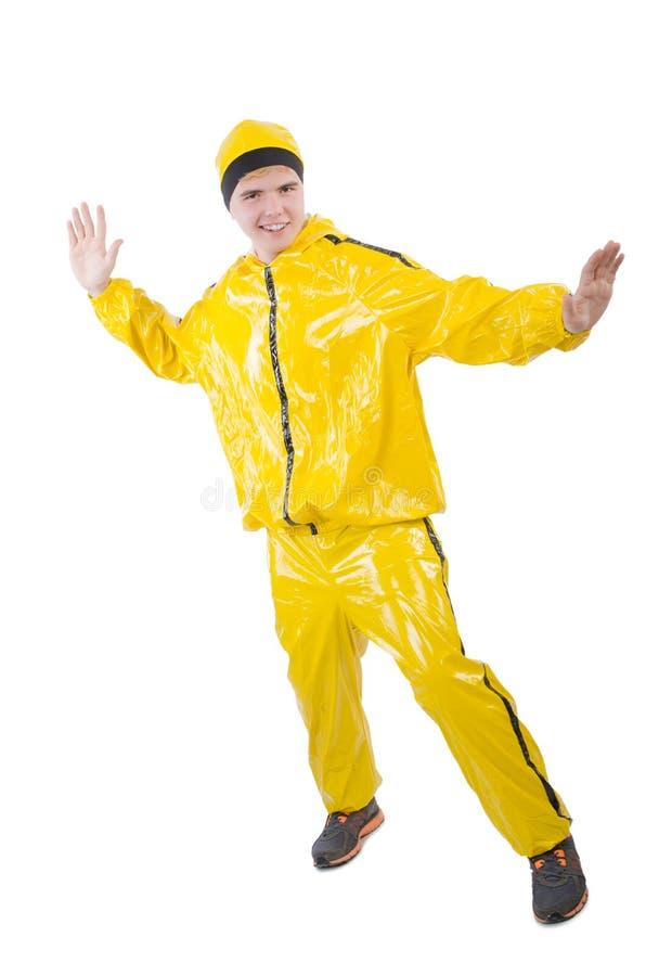 Homem no terno amarelo fotos de stock royalty free