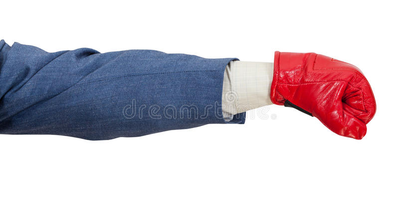 Homem no terno de negócio com perfuradores da luva de encaixotamento imagem de stock royalty free