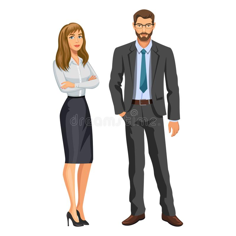 Homem no terno de negócio com vidros e menina da barba e do louro ilustração do vetor