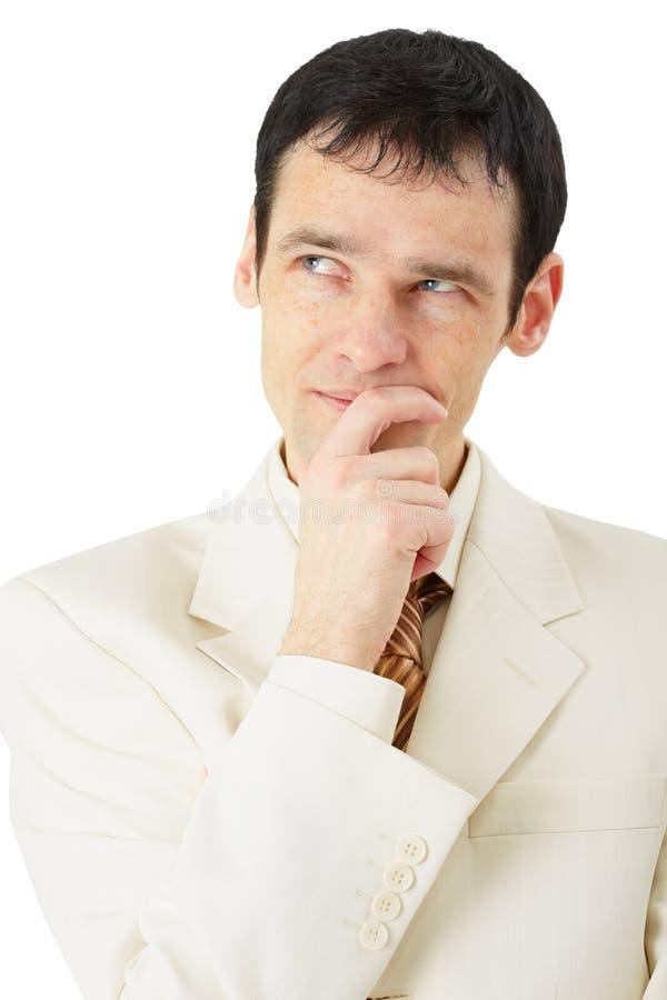 Homem no terno de negócio que pensa atenta imagem de stock