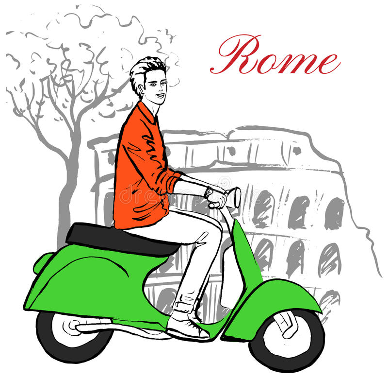 Homem no 'trotinette' ilustração royalty free