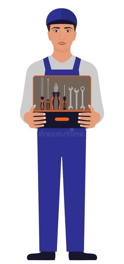 Homem no uniforme azul, em um mecânico ou no serralheiro, guardando uma caixa de ferramentas aberta antes dsi mesmo com grosa, al ilustração royalty free