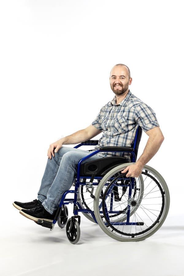 Homem no wheelschair fotografia de stock
