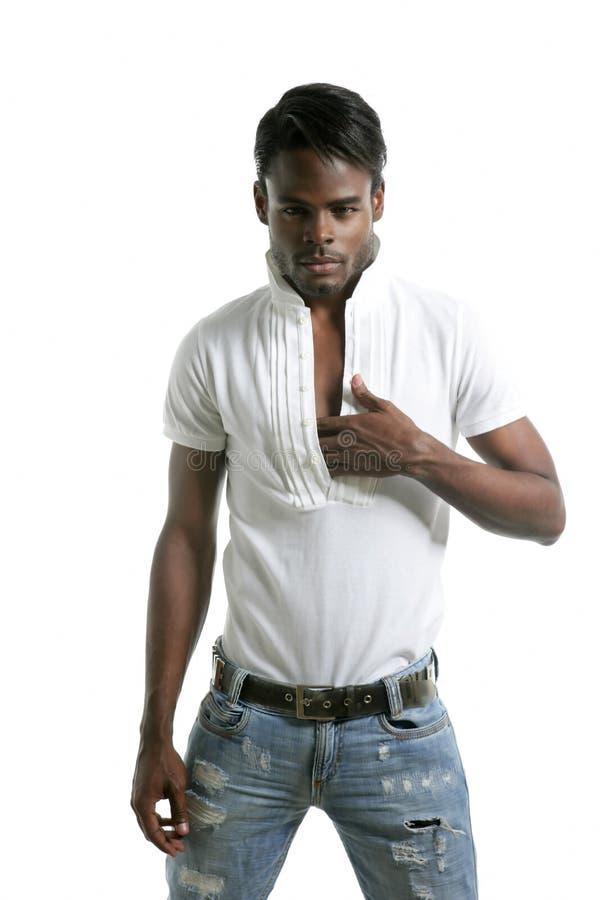 Homem novo africano da forma preta de Handsomen fotografia de stock