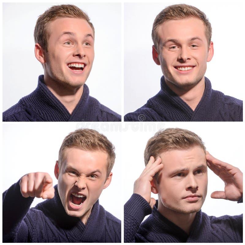 Homem novo agradável que expressa emoções foto de stock royalty free