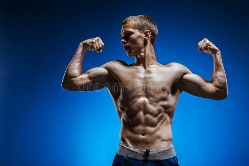 Homem novo apto com o torso bonito no fundo azul fotografia de stock