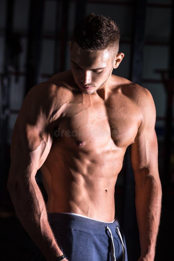 Homem novo atlético bonito no gym fotografia de stock