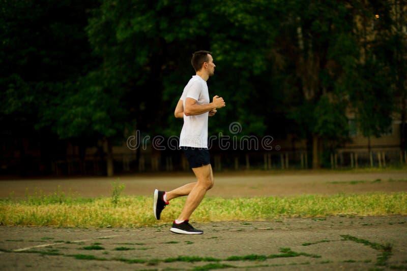 Homem novo atlético que corre na noite da natureza imagens de stock