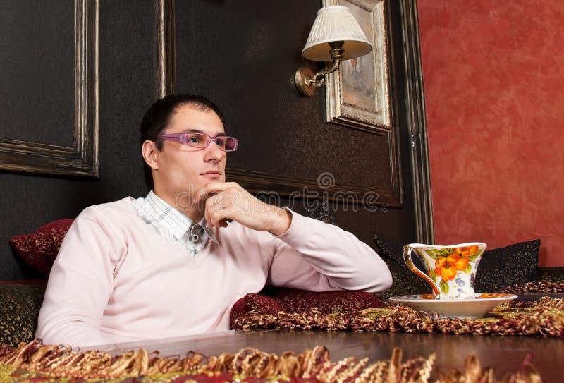 Download Homem Novo Bem Sucedido No Interior Luxuoso Imagem de Stock - Imagem de negócio, barra: 12811487