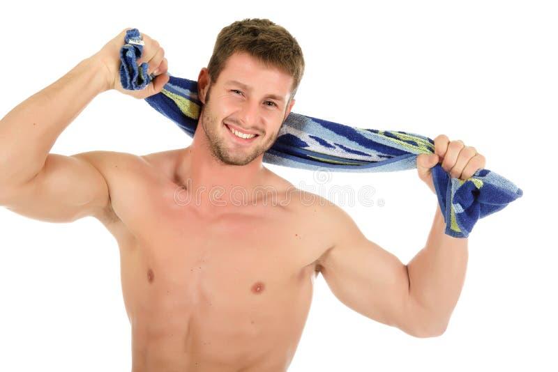 Homem novo caucasiano 'sexy', após o banho imagens de stock