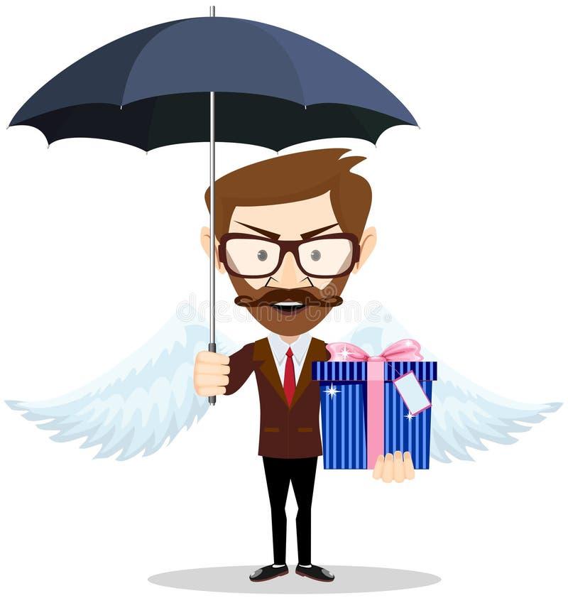 Homem novo com as asas que guardam um presente para você sob um guarda-chuva, ilustração royalty free