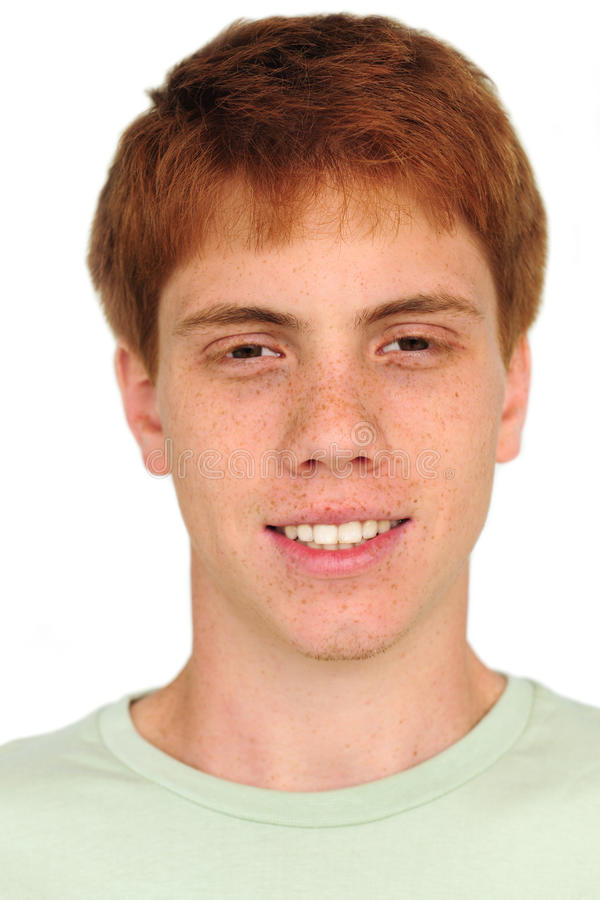 Homem novo com freckles fotografia de stock royalty free