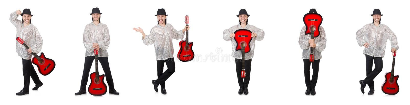 Homem novo com a guitarra isolada no branco fotografia de stock royalty free