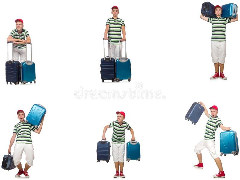 Homem novo com a mala de viagem isolada no branco fotografia de stock