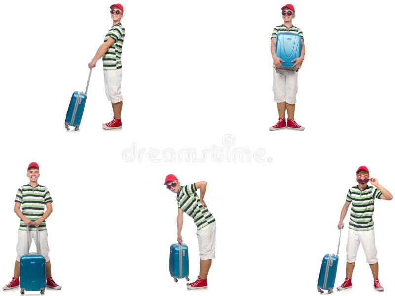 Homem novo com a mala de viagem isolada no branco foto de stock royalty free