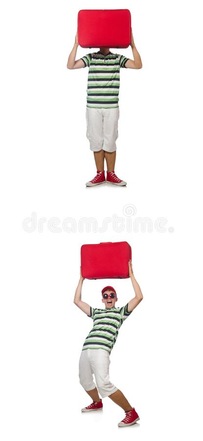 Homem novo com a mala de viagem vermelha isolada no branco imagens de stock royalty free