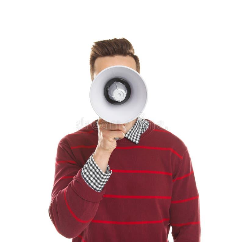 Homem novo com megafone fotos de stock royalty free
