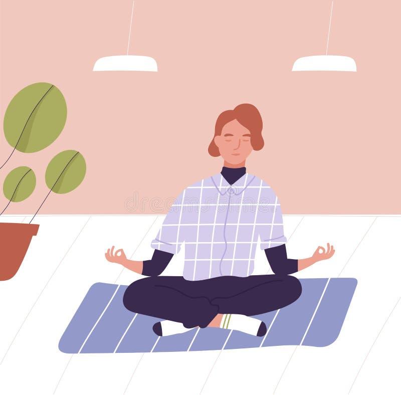 Homem novo com os olhos fechados que sentam equipado com pernas transversal e meditar Meditação do negócio, técnica do abrandamen ilustração stock