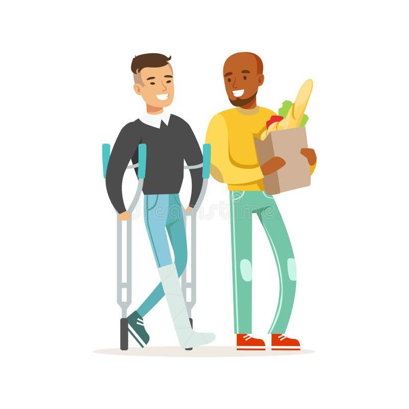 Homem novo com pé em um emplastro usando muletas que compra com seu amigo ou voluntário, auxílio dos cuidados médicos e ilustração royalty free