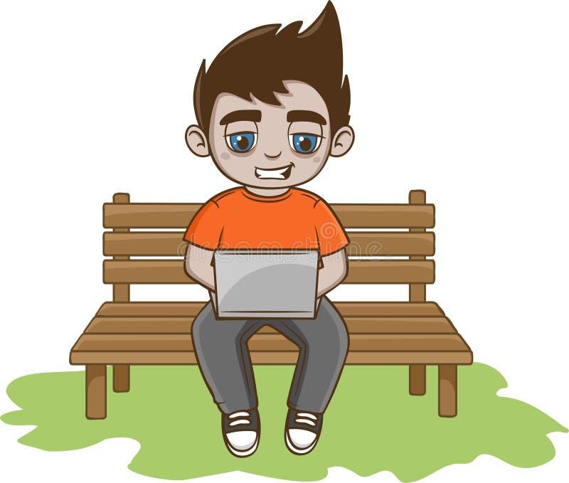 Homem novo com portátil ilustração royalty free