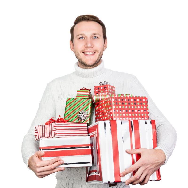 Homem novo com presentes foto de stock royalty free