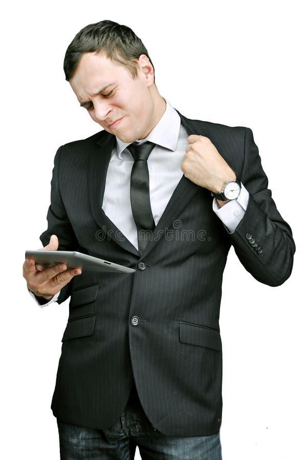 Homem novo com tabuleta imagens de stock royalty free