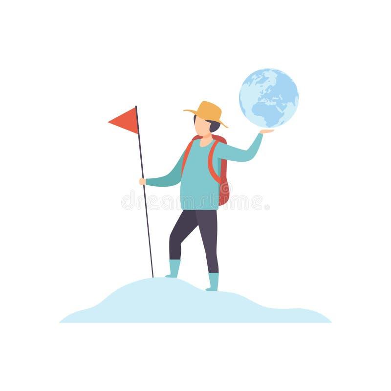 Homem novo com a trouxa que está na parte superior da montanha e que guarda a ilustração do vetor do globo da bandeira e da terra ilustração stock