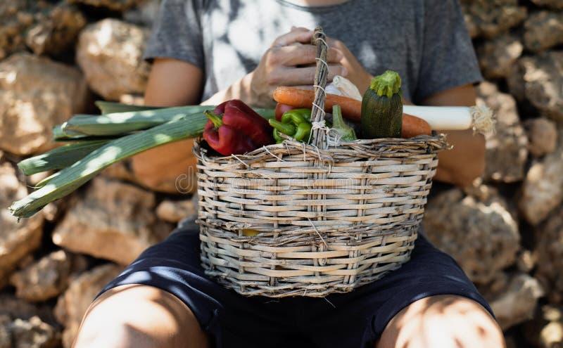 Homem novo com uma cesta completa dos vegetais fotos de stock royalty free