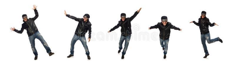 Homem novo com vidros do aviador no branco fotos de stock