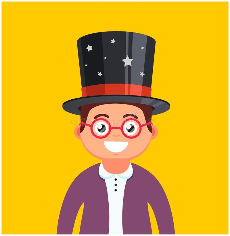 Homem novo com vidros e um chap?u em um fundo amarelo sorrisos masculinos do m?gico Car?ter bonito ilustração stock