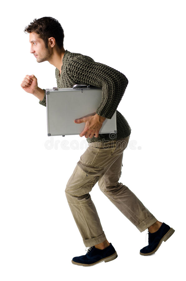 Homem novo considerável com o corredor da pasta, isolado imagens de stock