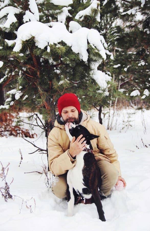 Homem novo considerável com seu cão do pugilista fora foto de stock